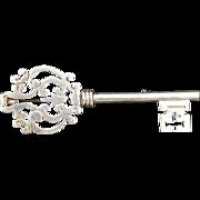 REDUCED Vintage Taxco Sterling Silver Ornate Key Brooch