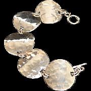 SALE Hammered Sterling Silver Disc Toggle Link Bracelet
