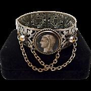 """SALE République France Silver Plate """"La Marianne"""" Porcelain Cameo Portrait Bracelet"""