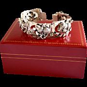 SALE 50's Napier Sterling Silver Art Nouveau Style Link Bracelet