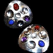 REDUCED Vintage Moon Beam Sterling Silver Modernist Earrings