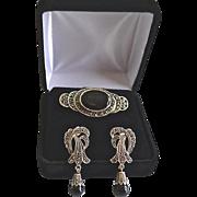 SALE Vintage Sterling Marcasite & Onyx Brooch & Earrings