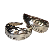 REDUCED Ornate Open Work Sterling Silver Oval Hoops Earrings