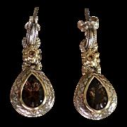 REDUCED Topaz Tear Drop 14kt Gold & Sterling Pendant Earrings