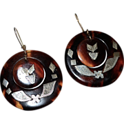 REDUCED Stunning Faux Tortoise Shell Inlaid Sterling Earrings