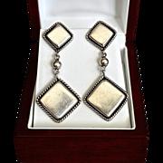 SALE Diva Southwestern Modernist Sterling Duster Earrings