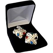 REDUCED Mexico Sterling Silver Inlaid Square Clip Earrings