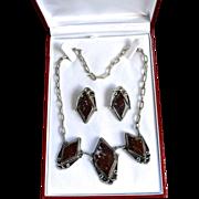 SALE Deco Style Sterling Mahogany Jasper Necklace Set