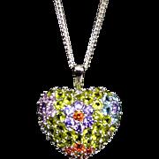 SALE Sterling Faceted Swarovski Crystal Cluster Pendant Necklace