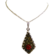 SALE Artisan Crafted Polished Granite & Fiery Opal Sterling Silver Pendant