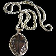 REDUCED Sterling Silve Artisan Black Brown Jasper Pendant Necklace