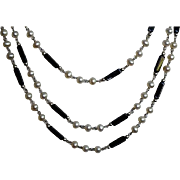 SALE Opera Length Faux Pearl & Black Jet Beaded Sterling Lariat Necklace