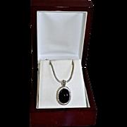 SALE Ornate Sterling Silver Black Onyx Pendant Necklace