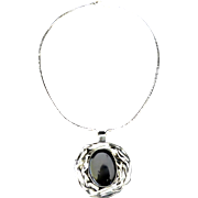 REDUCED Artisan Modernist Onyx  Sterling / Pewter Pendant Necklace