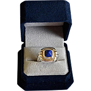 SALE Modernist Lapis Sterling Silver 18K Gold Ring