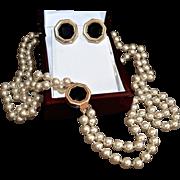 Elegant Swarovski Double Strand Glass Pearl Opera Necklace Set