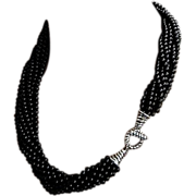 SALE Tiffany & Co Sterling Onyx Interlocking Torsade Necklace