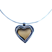 REDUCED Tiffany & Co 18K Sterling / Gold Large Heart Pendant Necklace