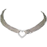 SALE Tiffany & Co Large Sterling Silver Open Heart Meash Necklace
