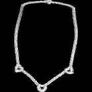 SALE Classic Tiffany & Co Peretti Sterling Triple Heart Necklace