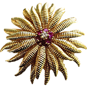 """SALE Tiffany & Co. 18K """"Marigold"""" Floral Brooch / Pendant with Ruby & Diamond Accent"""