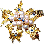 REDUCED Tiffany & Co 18K Gold Sapphire & Cultured Pearl Brooch / Pendant
