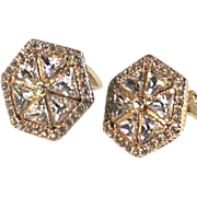 REDUCED Valentino Large 18kt Gold Plate Trillion Crystal Earrings