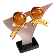 REDUCED Valentino 18K Gold Plate Gripoix Glass Ribbon Style Earrings
