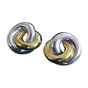 REDUCED Modernist VARSANO Sterling Vermeil Love Knot Earrings