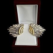 SALE Designer Varsano Sterling Gold Vermeil Wing Earrings