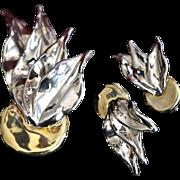 SALE Modernist VARSANO Sterling Vermeil Leaf Brooch & Earrings