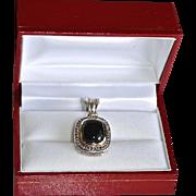 SALE Large Sterling 18K Gold Diamond Onyx Cabochon Enhancer Yurman