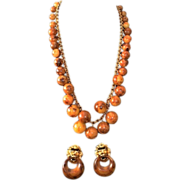 SALE Kenneth Jay Lane Faux Tortoise Bauble Necklace & Earrings