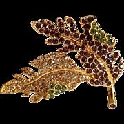 REDUCED Large Kenneth Jay Lane Encrusted Maple Leaf Crystal Brooch