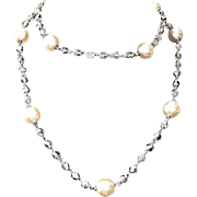 SALE Kenneth Jay Lane Evening Crystal Faux-Pearl Lariat Necklace