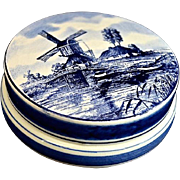 SALE Delft's Blue and White Hand Painted Porcelain Trinket Box