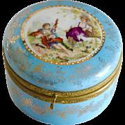 SALE Vintage Hand Painted Porcelain Dresser Jar Victorian Courting Design Germany
