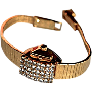 SCHIAPARELLI Florentine Gold Plate Crystal Cocktail Watch