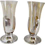 REDUCED Pair 1930's Tiffany & Co Handblown Amber Glass & Silverplate Trumpet Vase