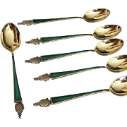 SALE Tiffany Sterling Gilt Enamel Demitasse Spoon 6 Piece Set Vintage