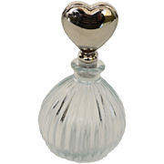 REDUCED Mid Century Clear Glass Heart Perfume Bottle
