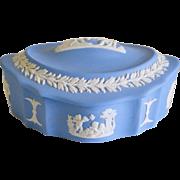 SALE Wedgwood Blue Jasperware Bisque Trinket Dresser Jar