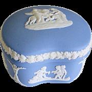 SALE Wedgwood Blue Jasperware Domed Heart Trinket Box