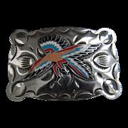 SALE Vintage Etched Nickle Silver Warrior Buckle Mint