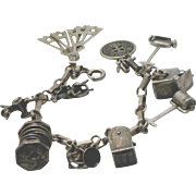 Sterling & Silver Early 20th Century Vintage Charm Bracelet--Many Rare Articulated Charms