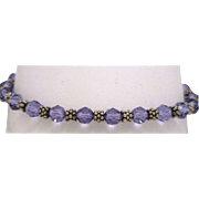 Handcrafted Sterling Silver Bali Bead /Toggle Bracelet with Purple 6mm Swarovski Crystals