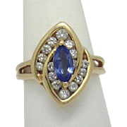 REDUCED Unique Design! Vintage 14KYG Marquise Tanzanite with 2/3ct+TW Diamond Ring