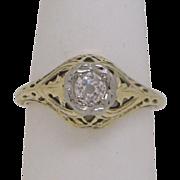 14KYG Filigree Engagement Ring, High Quality Old Euro Diamond