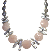 REDUCED Custom Rose Quartz Discs with Elongated & Round Grey Freshwater Pearls Necklace, Fun &