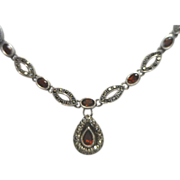 Regal Looking Sterling Silver, Marcasite & Garnet Necklace Deco Style